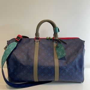 Authentic Louis Vuitton blue outdoor keepall 45 duffle travel suitcase tote